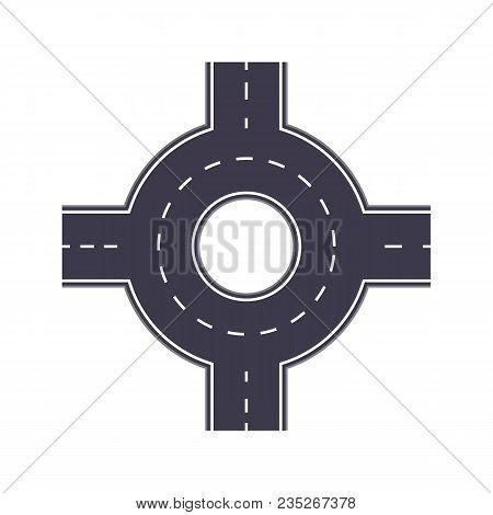 City Road Junction Isolated Map Segment. Auto Traffic Element, Highway Construction Vector Illustrat