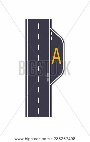 City Road With Bus Stop Isolated Map Segment. Auto Traffic Element, Highway Construction Vector Illu