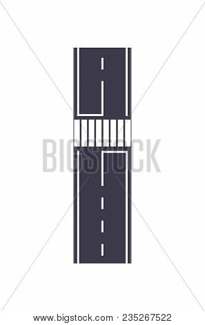 City Road With Zebra Crossing Isolated Map Segment. Auto Traffic Element, Highway Construction Vecto