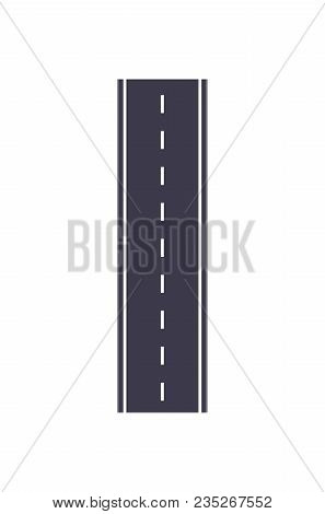 City Road Isolated Map Segment. Auto Traffic Element, Highway Construction Vector Illustration.