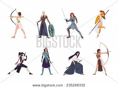 Collection Of Female Warriors From Scandinavian, Greek, Egyptian, Asian Mythology And History. Set O