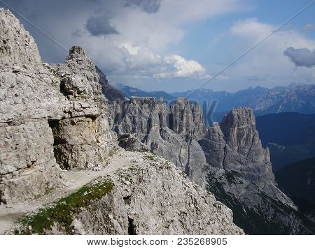 The Georgous View From The Via Ferrata Leading On Paterkofel. View On Rocky Peaks Of Sexten Dolomite