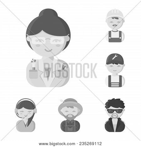 People Of Different Professions Monochrome Icons In Set Collection For Design. Worker And Specialist