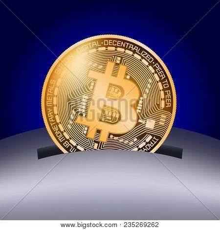 Coin Bitcoin Falls Into The Piggy Bank. Vector Illustration On A Business Theme.