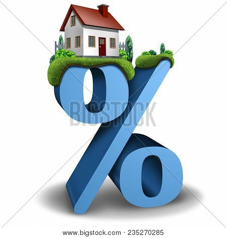 Mortgage Interest Rate Home And House Real Estate Banking And Lending Percentage Concept As A 3d Ill