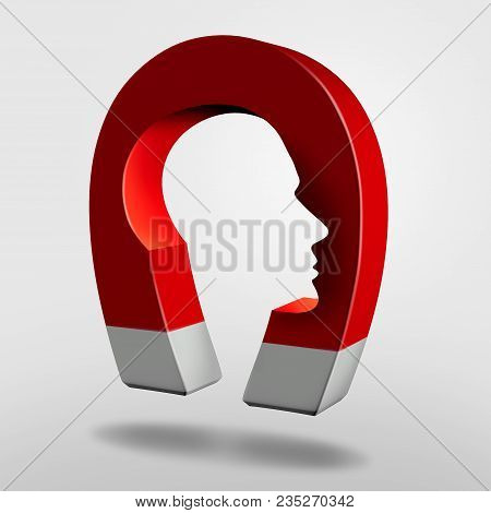 Magnet Head As An Attraction Psychology Concept Or Magnetic Personality As An Object With Magnetism
