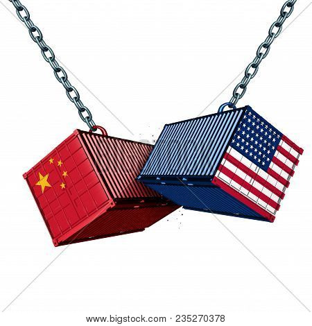 Chinese And American Tariff War As A China Usa Trade Problem As Two Cargo Containers In Conflict As