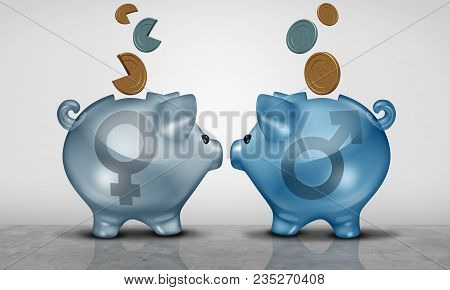 Pay equity and economic gender gap business concept as two piggy bank objects with male and female symbol showing salary inequality as a 3D illustration. poster