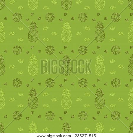 Pineapple Fruits Seamless Summer Pattern Background Vector Format