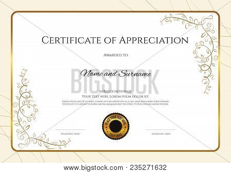 Luxury Certificate Template With Elegant Floral Border Frame, Diploma Design For Graduation Or Compl