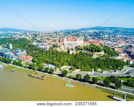 Bratislava Castle Or Bratislavsky Hrad Aerial Panoramic View. Bratislava Castle Is The Main Castle O