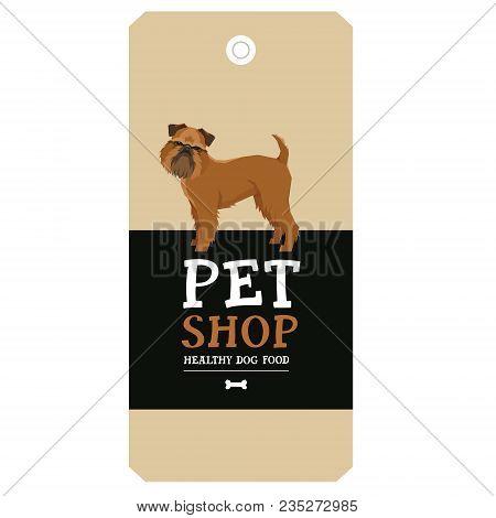 Poster Pet Shop Design Label Griffon Bruxellois Geometric Style Set
