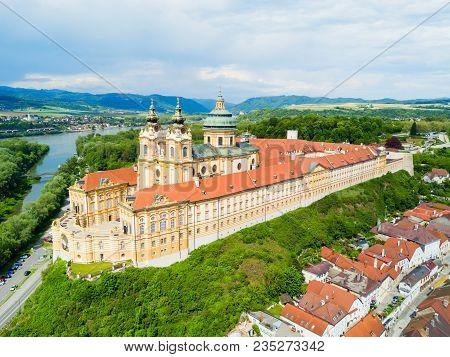 Melk Abbey Monastery Aerial Panoramic View. Stift Melk Is A Benedictine Abbey In Melk, Austria. Mona