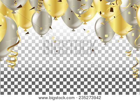 Fourth Of July. 4th Of July Holiday Banner. Golden Balloons In The Shape Of A Heart On A Background