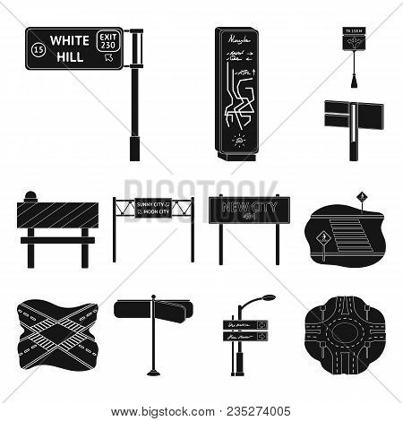 Road Junctions And Signs Black Icons In Set Collection For Design.pedestrian Crossings And Signs Vec