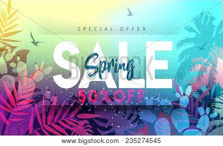 Sale Spring Banner. Trendy Texture. Season Vocation, Weekend, Holiday Logo. Spring Time.  Happy Spri