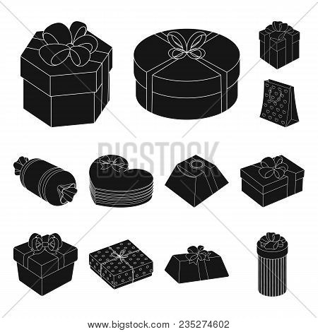 Gift And Packing Black Icons In Set Collection For Design.colorful Packing Vector Symbol Stock  Illu