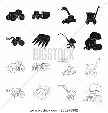 Motoblock And Other Agricultural Devices. Agricultural Machinery Set Collection Icons In Black, Outl