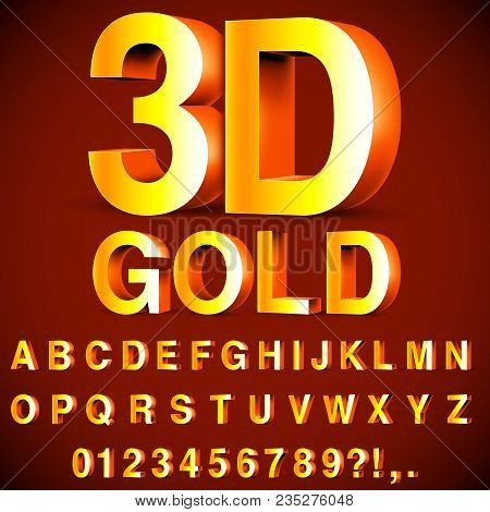 Full Alphabet Of 3d Golden Letters And Numbers