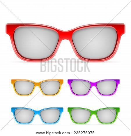 Summer Color Framed Sunglasses Isolated On White Background
