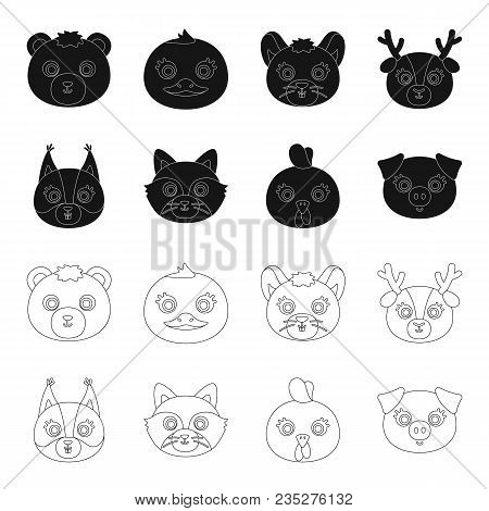 Protein, Raccoon, Chicken, Pig. Animal Muzzle Set Collection Icons In Black, Outline Style Vector Sy