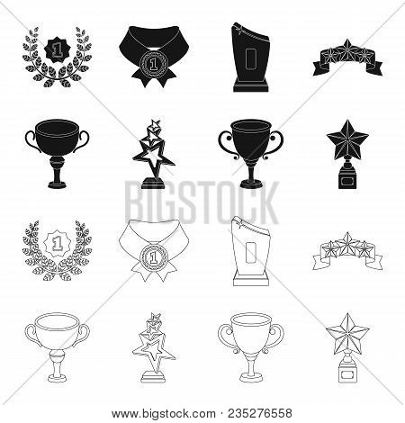 Silver Cup For The Second Place, Gold Stars On The Stand, A Cup With A Star, A Gold Cup.awards And T