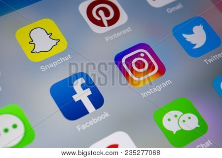 Sankt-petersburg, Russia, April 1, 2018: Apple Iphone X With Icons Of Social Media Facebook, Instagr