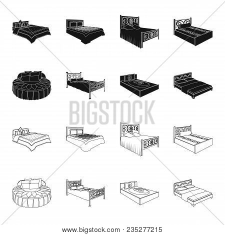Different Beds Black, Outline Icons In Set Collection For Design. Furniture For Sleeping Vector Isom