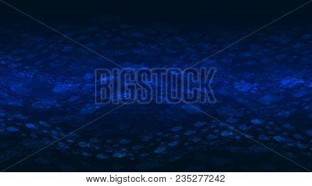 Vector Background Presenting Deep Ocean: Dark Blue Water And Fish Flocks.