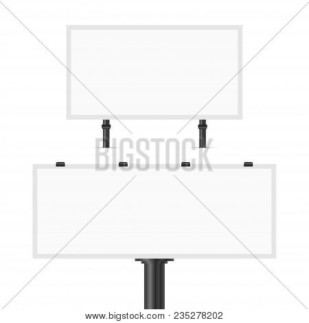 Blank Vector Billboard Isolated On White Background. Road Sign, Banner - Billboard, Commercial Sign.