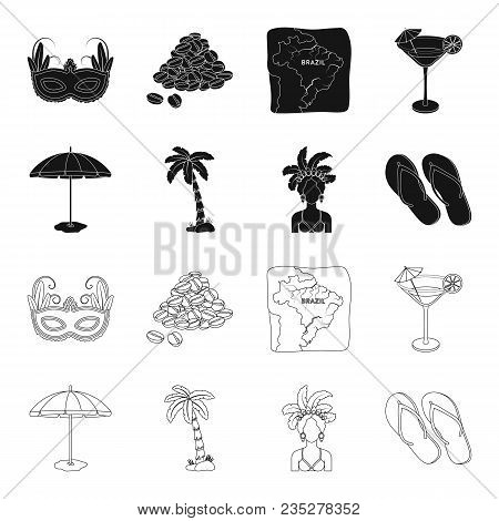 Brazil, Country, Umbrella, Beach . Brazil Country Set Collection Icons In Black, Outline Style Vecto