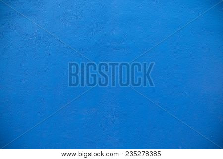 Cement Textures On The Blue Wall For Background