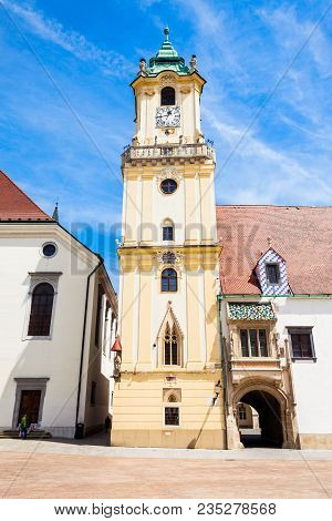 Bratislava Old Town Hall Is A Complex Of Buildings In The Old Town Of Bratislava, Slovakia. Old Town