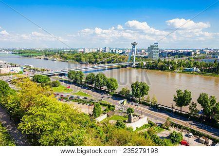 Most Snp New Bridge Or The Ufo Bridge Or Novy Most In Bratislava, Slovakia. Snp Most Bridge Is A Roa