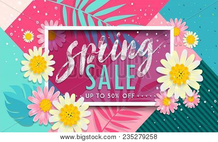 Sale Spring Banner. Trendy Texture. Season Vocation, Weekend, Holiday Logo. Spring Time. Happy Sprin