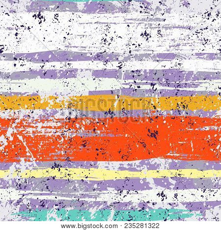 Striped Pattern With Brushed Lines And Stripes In Bright Colors. Vector Grunge Geometric Texture Wit