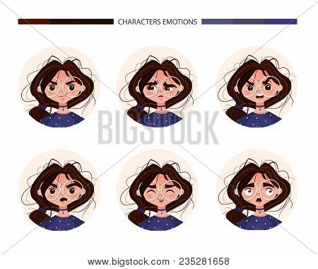 Character Emotions Avatar Cute Girl Brunette In Glasses. Emoji With Different Woman Facial Expressio