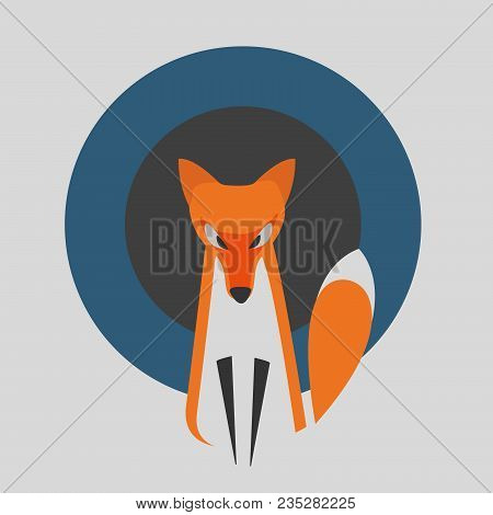Vector Image Of A Fox Design On A Grey Background With Blue And Dark Gray Rounds. Fox Is On Special