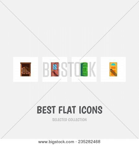 Icon Flat Approach Set Of Entrance, Western Wooden, Approach And Other Vector Objects. Also Includes
