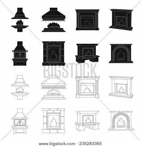 Fire, Warmth And Comfort. Fireplace Set Collection Icons In Black, Outline Style Vector Symbol Stock