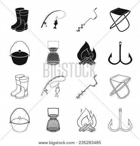 Catch, Hook, Mesh, Caster .fishing Set Collection Icons In Black, Outline Style Vector Symbol Stock