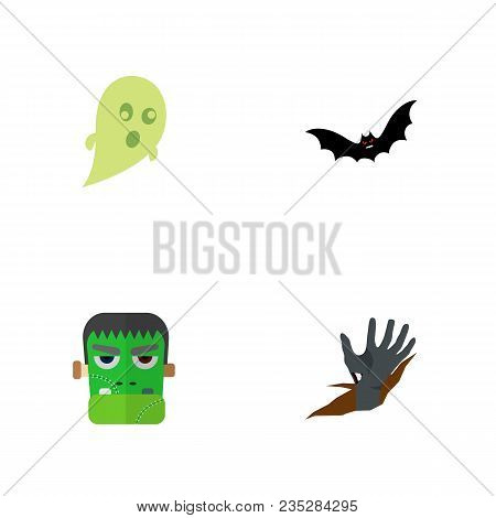 Icon Flat Celebrate Set Of Ghost, Zombie, Corpse Hand  Objects. Also Includes Zombie, Corpse, Supers