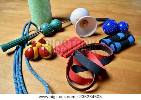 training equipment, adult toys, Massage roll, balls, Diabolo, skipping-rope, elastic band, strong elast, for warming up and training poster