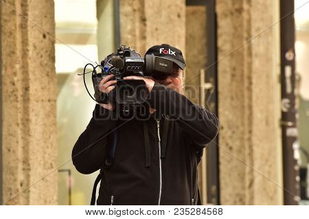 Austria Salzburg. May 02, 2017. The Film Operator Shoots In The Street.