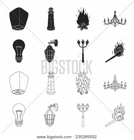 Led Light, Street Lamp, Match.light Source Set Collection Icons In Black, Outline Style Vector Symbo