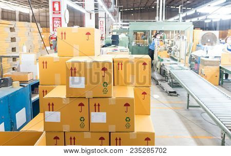 Packaging Department To Prepare For Delivery To Customers. Closeup Box For Packing At Warehouse. Wor
