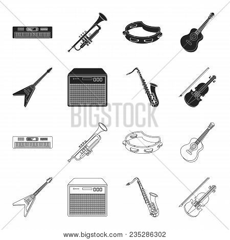 Electric Guitar, Loudspeaker, Saxophone, Violin.music Instruments Set Collection Icons In Black, Out