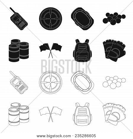 Protective Vest, Gloves And Other Equipment. Paintball Single Icon In Black, Outline Style Vector Sy