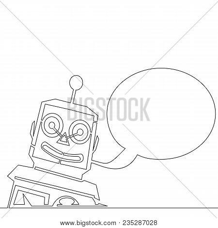 Single Continuous Line Chatbot Speech Vector Illustration