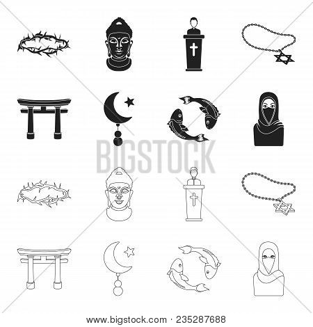 Torii, Carp Koi, Woman In Hijab, Star And Crescent. Religion Set Collection Icons In Black, Outline